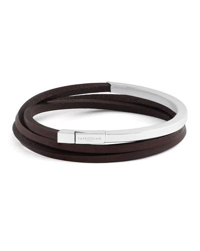 Men's Triple-Wrap Leather Bracelet, Size L, Brown