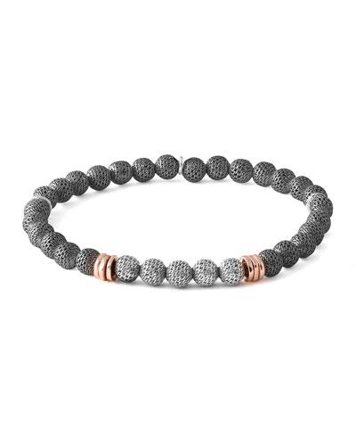 Men's Two-Tone Mesh Bead Bracelet, Size M