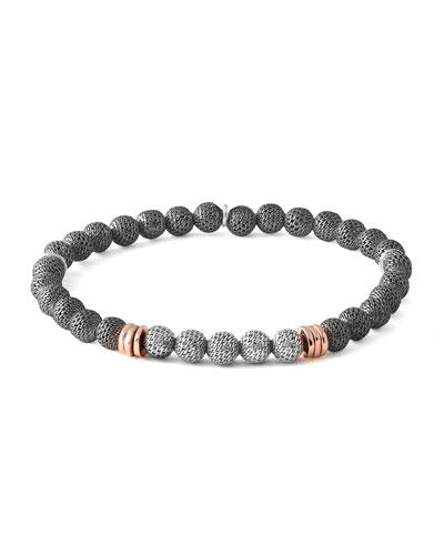 Men's Two-Tone Mesh Bead Bracelet, Size L