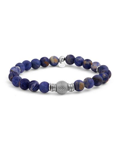 Men's Sodalite & Mesh Bracelet, Size M
