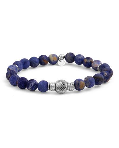 Men's Sodalite & Mesh Bracelet, Size L