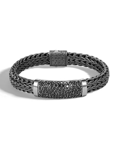Men's Classic Chain Flat Sterling Silver Bracelet with Black Rhodium & ...