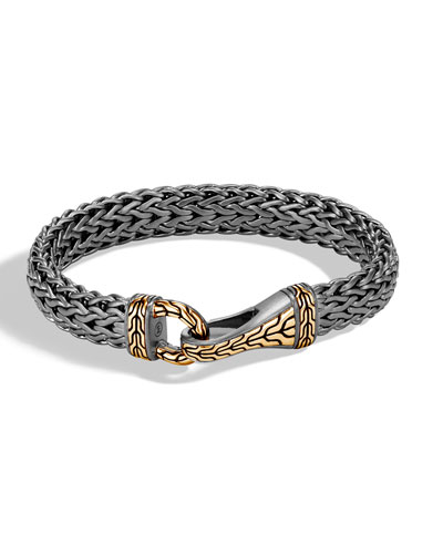 Men's Classic Chain Silver Hook Bracelet with Black Rhodium & 18k Gold