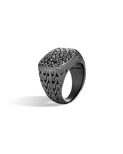 Men's Classic Chain Black Signet Ring w/ Black Sapphire