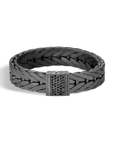 Men's Modern Chain XL Silver Bracelet with Black Sapphire with Black ...
