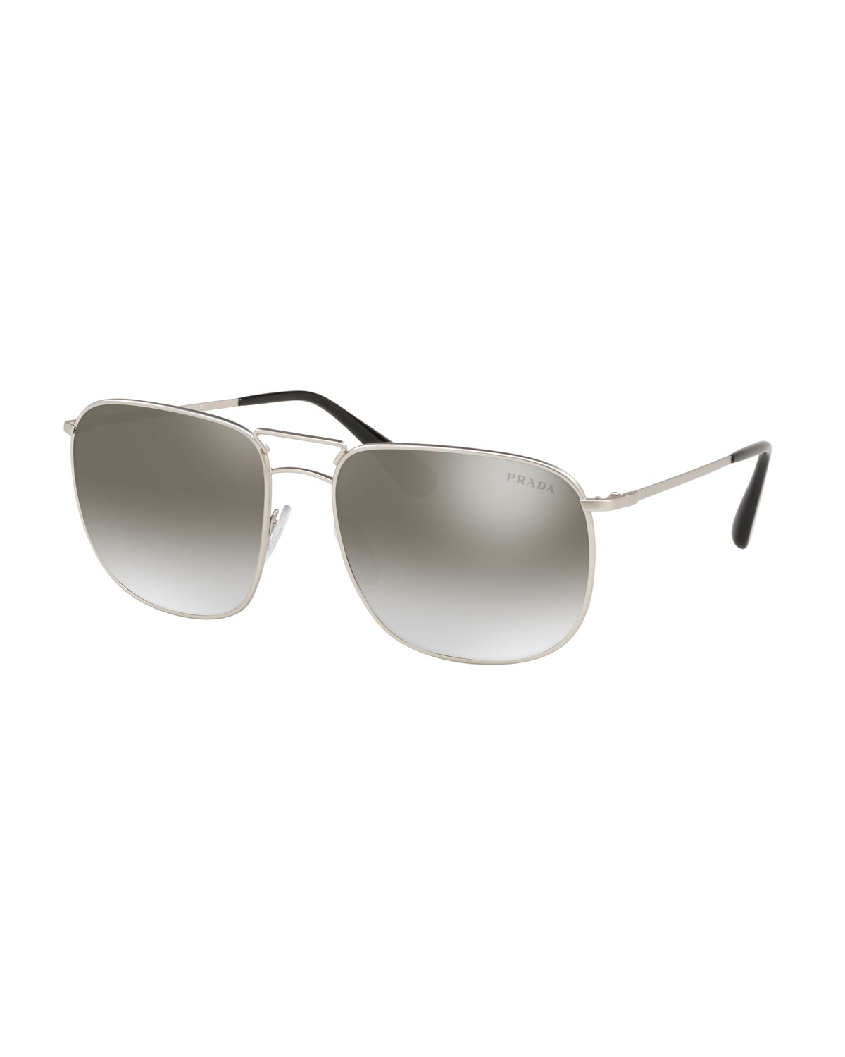 b58efd052656 PRADA MEN S SQUARE METAL AVIATOR SUNGLASSES - MIRRORED LENSES