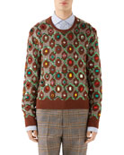 Gucci Men's Jewel-Embellished Jacquard Sweater
