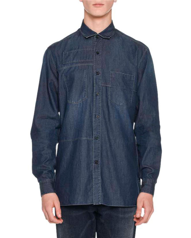 Denim Patchwork Sport Shirt, Indigo