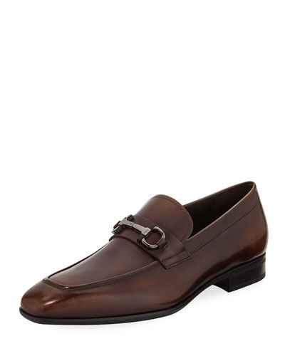Men's Gancini-Bit Leather Loafer, Brown