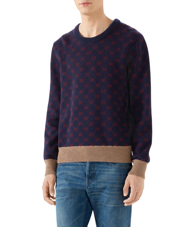GUCCI Men'S Logo Jacquard Sweater, Blue/Red Gg Jacquard