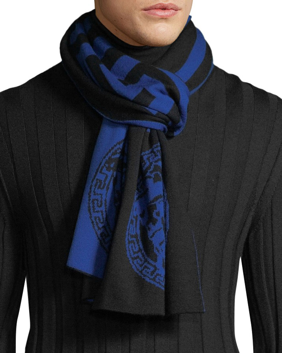 Men's Logo Greca Pattern Wool Scarf