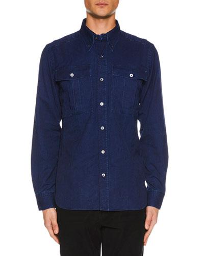 Men's Denim Military Shirt