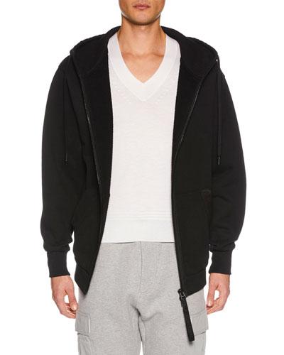Men's Zip-Front Hoodie Sweatshirt, Black