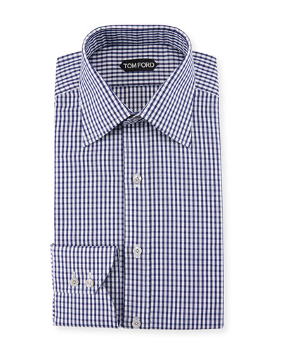 Men's Gingham Classic-Collar Dress Shirt