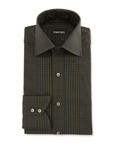 Men's Prince of Wales Plaid Dress Shirt, Dark Green