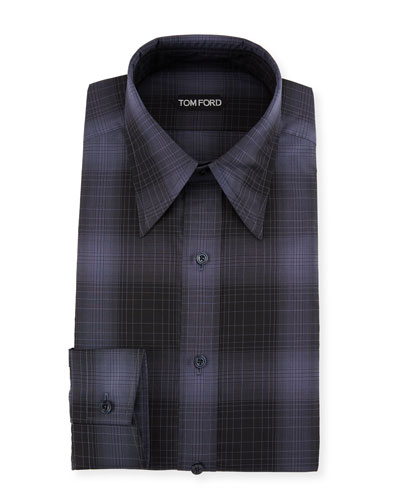 Men's Optical Check Pointed-Collar Dress Shirt