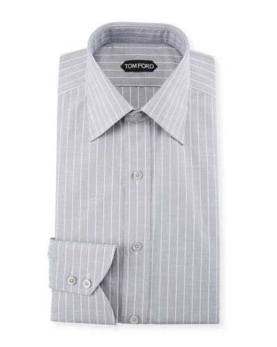 Men's Slim Fit Wide-Stripe Dress Shirt