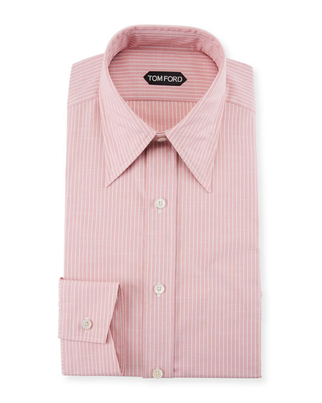 TOM FORD Men's Hopsack Striped Point-Collar Dress Shirt