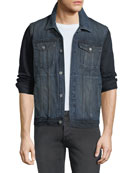 7 for all mankind Men's Hybrid Trucker Jacket