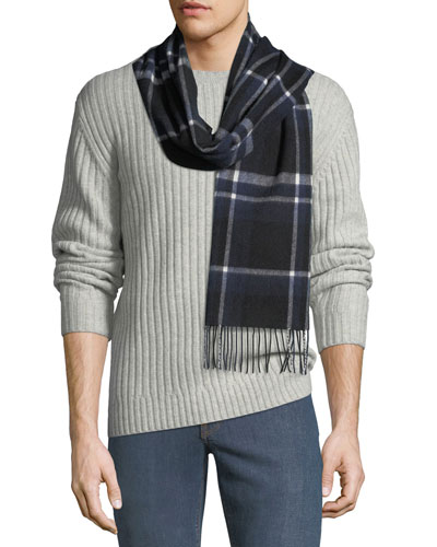 Men's Windowpane Cashmere Scarf