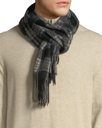 Men's Grid-Plaid Cashmere Waterweave Scarf