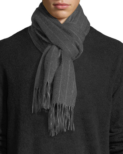 Men's Cashmere Pinstriped Scarf