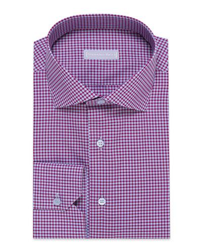 Men's Check Barrel-Cuff Dress Shirt, Blue/White