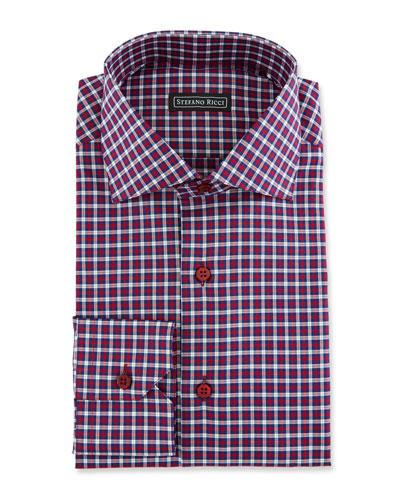 Men's Check Spread-Collar Dress Shirt