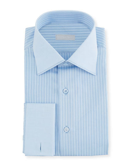 Stefano Ricci Men's Striped French-Cuff Dress Shirt with Solid Trim