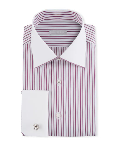 Men's Contrast Collar/Cuff Striped Dress Shirt