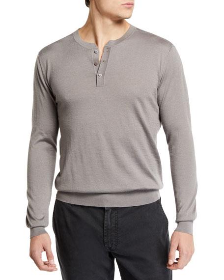 Stefano Ricci Men's Long-Sleeve Henley Shirt