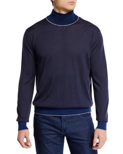 Men's Cashmere Colorblock-Trim Turtleneck Sweater