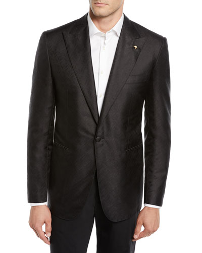 Men's Solid Textured Dinner Jacket