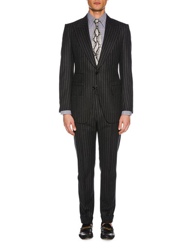 Men's Pinstriped Wool Two-Piece Suit