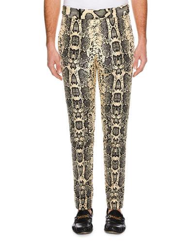 Men's Snakeskin-Print Silk Pants