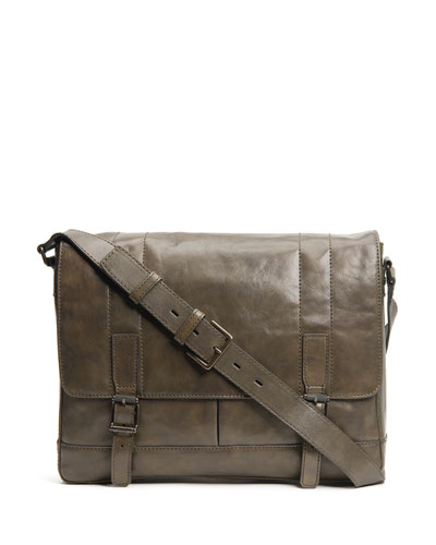 Men's Oliver Leather Messenger Bag, Olive