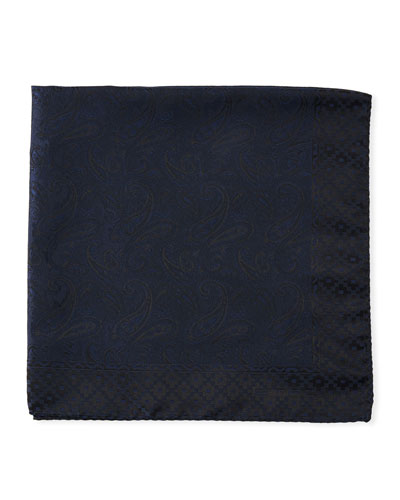 Tonal Paisley Silk Pocket Square