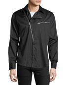 Givenchy Men's Asymmetric-Zip Cotton Shirt