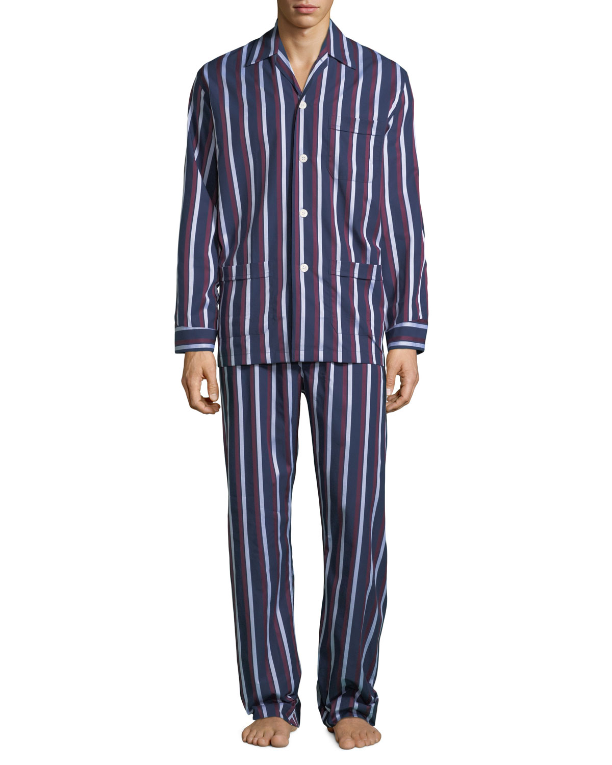 MEN'S ROYAL 210 STRIPED CLASSIC PAJAMA SET from Neiman Marcus