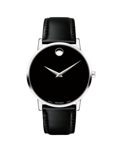 Men's 40mm Ultra Slim Watch with Leather Strap & Black Museum Dial