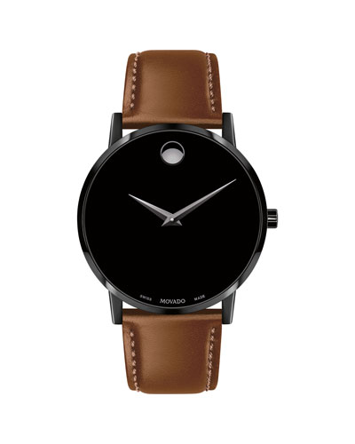 Men's 40mm Ultra Slim PVD Watch with Leather Strap & Black Museum Dial