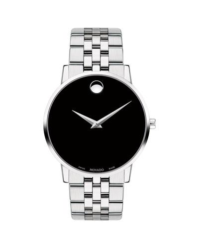 Men's 40mm Ultra Slim Watch with Bracelet & Black Museum Dial