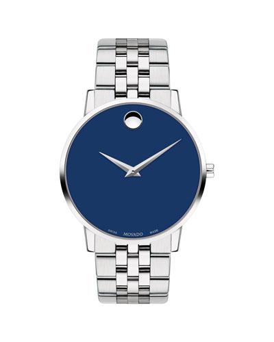 Men's 40mm Ultra Slim Watch with Bracelet & Blue Museum Dial