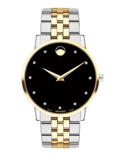Men's 40mm Ultra Slim Watch with 2-Tone Bracelet & Black Museum Dial