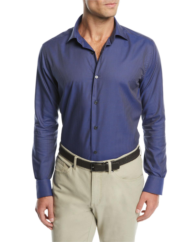Men's Micro Tartan Plaid Sport Shirt