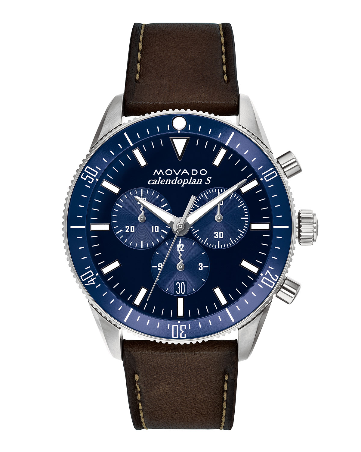 Men's Diver Chronograph Watch with Leather Strap & Blue Dial