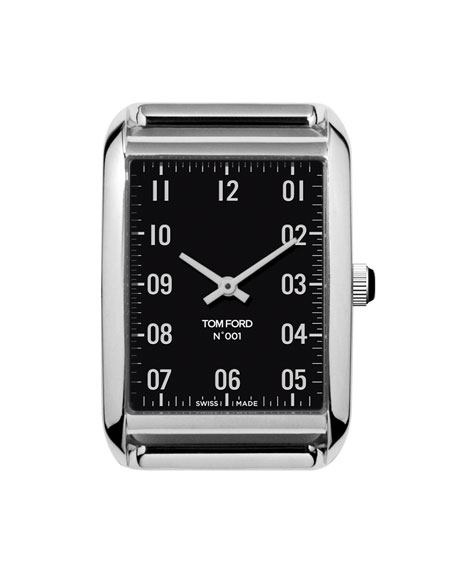 TOM FORD TIMEPIECES Polished Stainless Steel Case, Black Dial, Large
