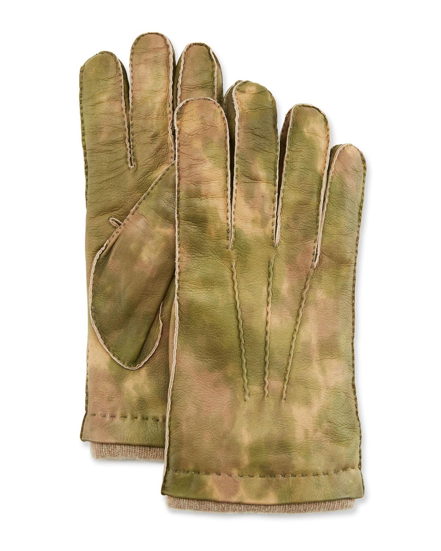 GUANTI GIGLIO FIORENTINO Men'S Three-Cord Lamb Leather Gloves W/ Cashmere Lining in Green Pattern