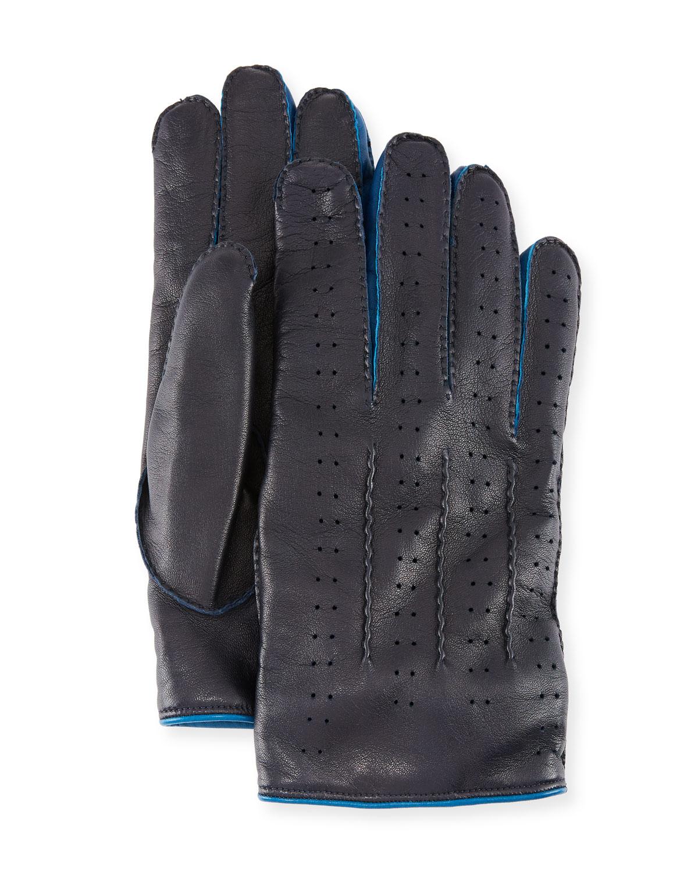 GUANTI GIGLIO FIORENTINO Men'S Two-Tone Leather Gloves in Navy
