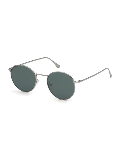 Men's Ryan Round Metal Sunglasses - Light Ruthenium/Dark Teal